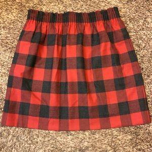 J.Crew Plaid Wool Sidewalk Red Paperbag Skirt sz 6